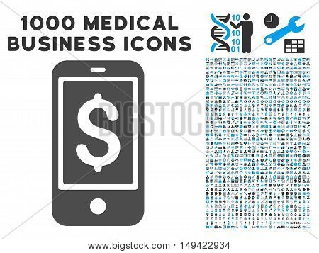 Mobile Balance icon with 1000 medical commerce gray and blue vector pictographs. Set style is flat bicolor symbols, white background.