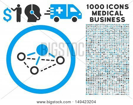 Molecule icon with 1000 medical business gray and blue vector pictographs. Set style is flat bicolor symbols, white background.