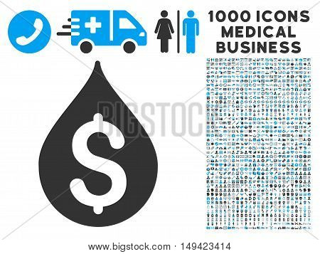 Money Drop icon with 1000 medical business gray and blue vector pictographs. Collection style is flat bicolor symbols, white background.