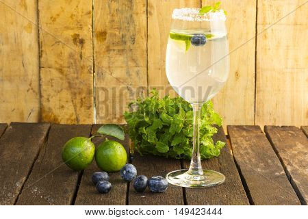 Drink Detoxification,blueberry and lemonade water.Fruit and health.Close up.0011