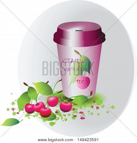Cherry juice. Cherry smoothies. Poster design, banner for advertising a healthy diet, natural organic products. Vector.