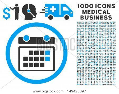 Month Calendar icon with 1000 medical commercial gray and blue vector pictograms. Clipart style is flat bicolor symbols, white background.