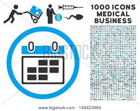 Month Calendar icon with 1000 medical business gray and blue vector design elements. Set style is flat bicolor symbols, white background.