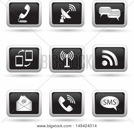 Buttons with communication icons set. Vector illustration