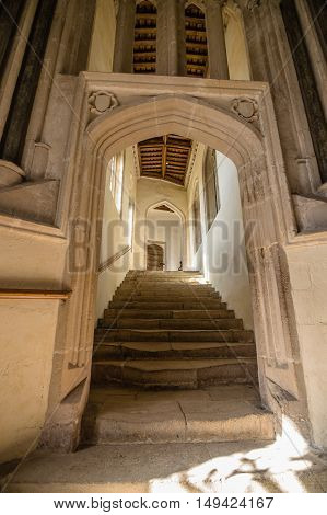 Wells UK - August 15 2015: Interior of Wells Cathedral. It is an Anglican cathedral dedicated to St Andrew the Apostle in Gothic and Early English Style