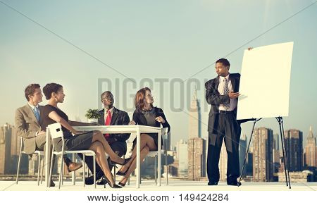 Business Team Leader meeting Rooftop Concept