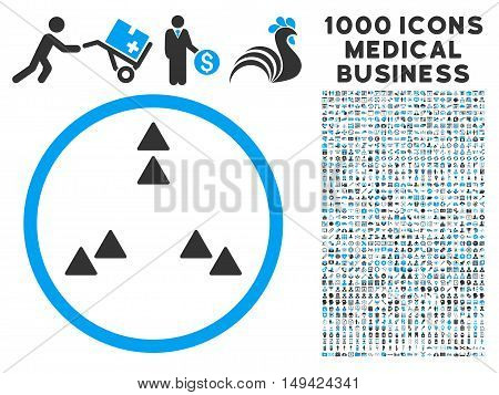 Move Out icon with 1000 medical business gray and blue vector pictograms. Clipart style is flat bicolor symbols, white background.