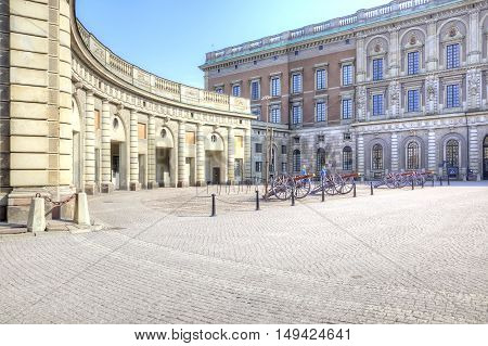 STOCKHOLM SWEDEN - April 29.2013: Ancient cannons and honor guard on an square before the Royal palace