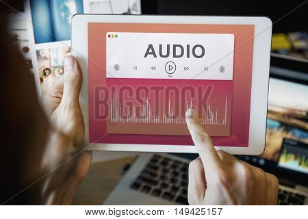 Hands Selecting Music Technology Concept