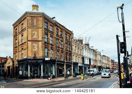 LONDON UK - AUGUST 23 2015: Bethnal Green Road. It´s located in Shoreditch near Brick Lane Market.