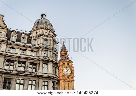 LONDON UK - AUGUST 23 2015: Big Ben from Parliament Street at sunset. Big Ben is the nickname for the Great Bell of the clock at the north end of the Palace of Westminster and often extended to refer to the clock and the clock tower