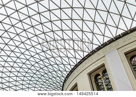 LONDON UK - AUGUST 20 2015: British Museum main court ceiling. The British Museum in London is dedicated to human history and culture.