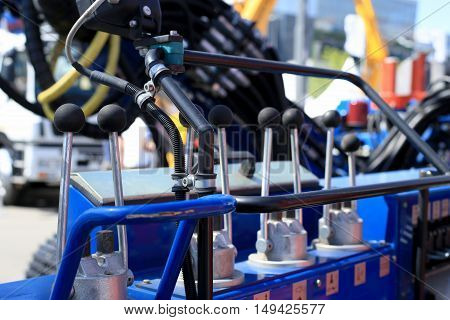 Control panel construction crane with the levers