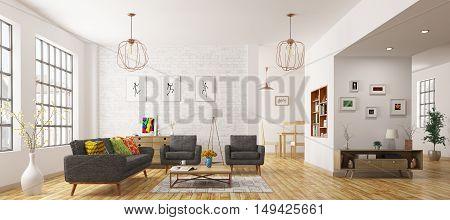 Modern interior of living room scandinavian style 3d rendering
