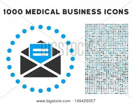 Open Mail icon with 1000 medical business gray and blue vector pictograms. Design style is flat bicolor symbols, white background.