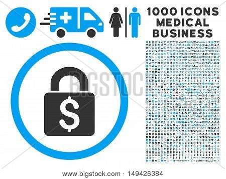 Pay Lock icon with 1000 medical business gray and blue vector design elements. Design style is flat bicolor symbols, white background.