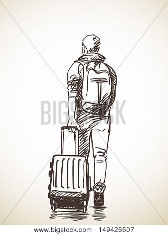 Sketch of man with suitcase, Hand drawn Vector illustration