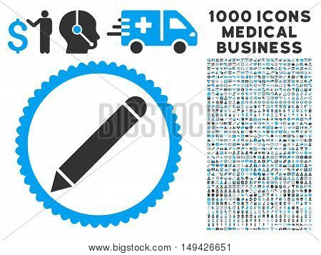 Pencil icon with 1000 medical commerce gray and blue vector pictographs. Clipart style is flat bicolor symbols, white background.
