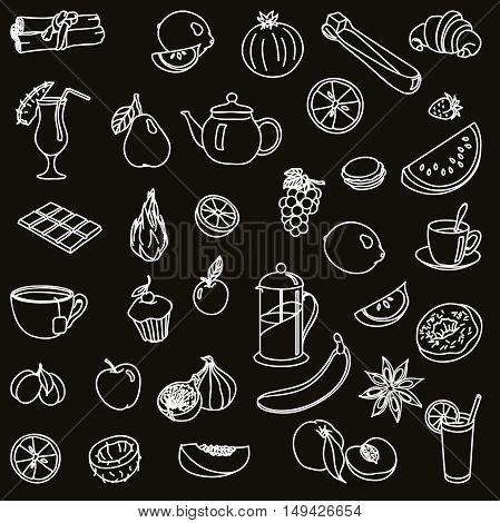 foodstuffs. fruit. vegetables. food. set of vector sketches on a black background