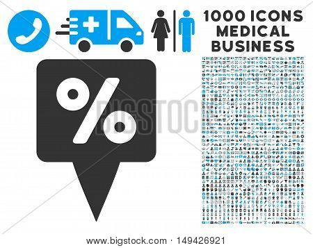 Percent Map Pointer icon with 1000 medical commercial gray and blue vector pictographs. Collection style is flat bicolor symbols, white background.