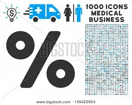 Percent icon with 1000 medical commercial gray and blue vector design elements. Collection style is flat bicolor symbols, white background.