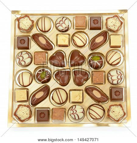 chocolate candy in a box isolated on white background