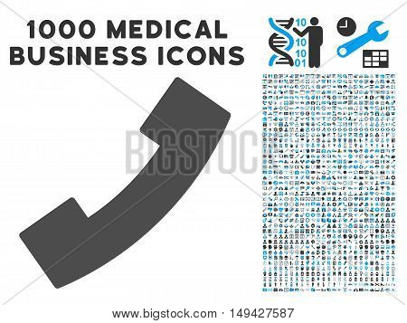Phone Receiver icon with 1000 medical commercial gray and blue vector design elements. Design style is flat bicolor symbols, white background.
