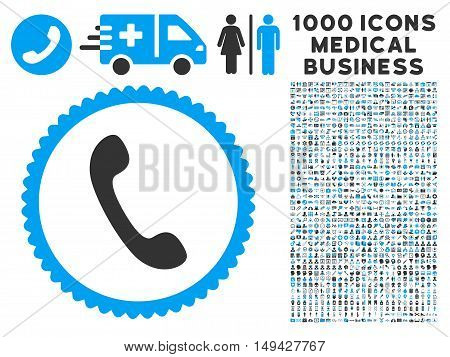 Phone icon with 1000 medical commercial gray and blue vector pictographs. Set style is flat bicolor symbols, white background.