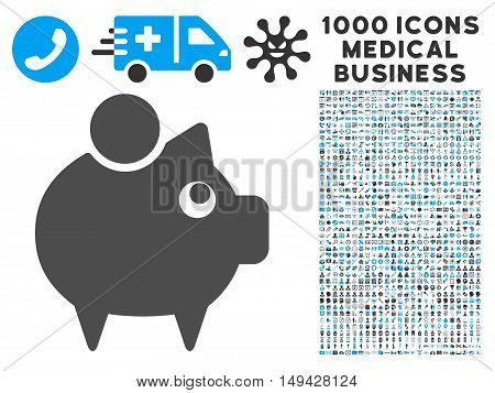 Piggy Bank icon with 1000 medical business gray and blue vector pictograms. Collection style is flat bicolor symbols, white background.