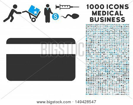 Plastic Card icon with 1000 medical business gray and blue vector pictographs. Collection style is flat bicolor symbols, white background.