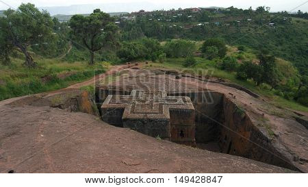 Excavated cross St. George church in Lalibela Ethiopia