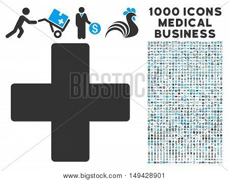 Plus icon with 1000 medical business gray and blue vector design elements. Collection style is flat bicolor symbols, white background.