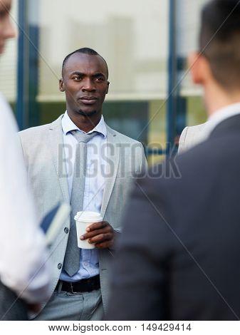 Interacting at coffee break