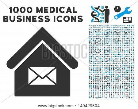Post Office icon with 1000 medical commercial gray and blue vector pictographs. Set style is flat bicolor symbols, white background.