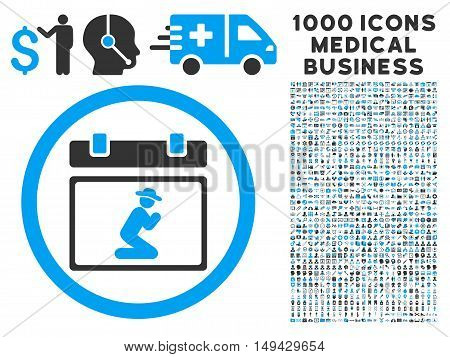 Pray Date icon with 1000 medical business gray and blue vector pictograms. Design style is flat bicolor symbols, white background.