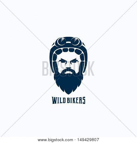 Flat Style Biker Face Abstract Vector Logo Template. Bearded Man in Helmet with Goggles Silhouette. Rider Symbol or Icon. Retro Typography. Isolated.