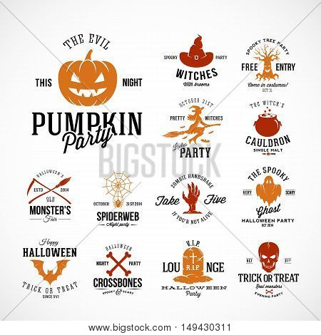 Vintage Halloween Vector Badges or Labels Templates. Pumpkin, Ghost, Skull, Bones, Bats and Other Symbols with Retro Typography. Isolated.