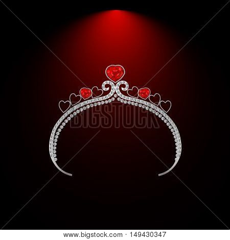 female headdress made of precious stones with ruby hearts vector illustration