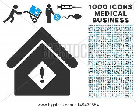 Problem Building icon with 1000 medical commercial gray and blue vector pictographs. Collection style is flat bicolor symbols, white background.