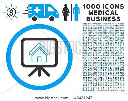 Project Slideshow icon with 1000 medical business gray and blue vector pictographs. Set style is flat bicolor symbols, white background.