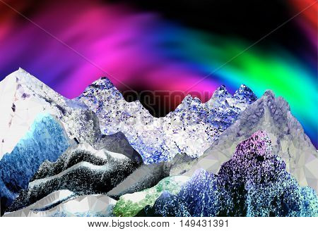 Abstract arctic landscape with aurora borealis. Panoramic winter landscape with peaks of crystals and polygons