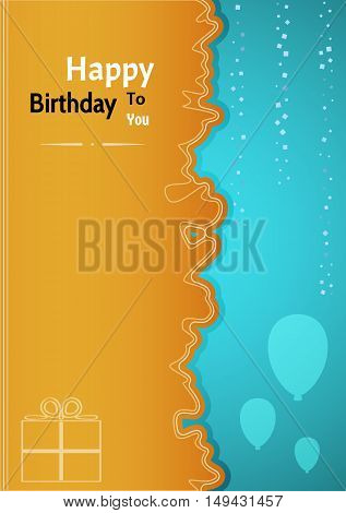 Birthday Poster With Two Color And Wavy Line