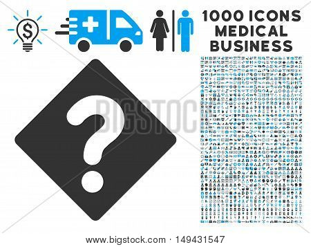 Question icon with 1000 medical business gray and blue vector pictograms. Design style is flat bicolor symbols, white background.