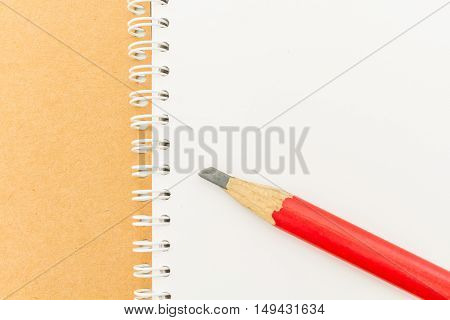 Blank Stationery Book And Red Pencil Isolated On White.