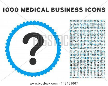 Question icon with 1000 medical commerce gray and blue vector design elements. Collection style is flat bicolor symbols, white background.