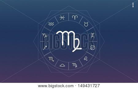Virgo Symbol Horoscope Zodiac Fortune Graphic Concept