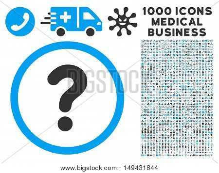 Question icon with 1000 medical business gray and blue vector pictograms. Set style is flat bicolor symbols, white background.