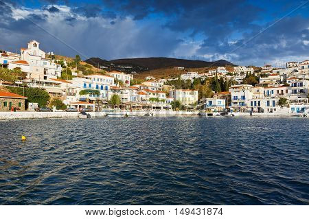 Batsi village on the coast of Andros island in Greece.