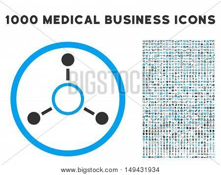 Radial Structure icon with 1000 medical commercial gray and blue vector pictograms. Design style is flat bicolor symbols, white background.