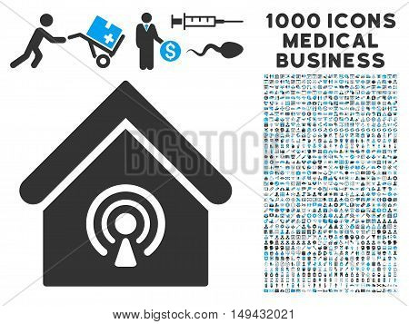 Radio Station icon with 1000 medical business gray and blue vector pictographs. Design style is flat bicolor symbols, white background.